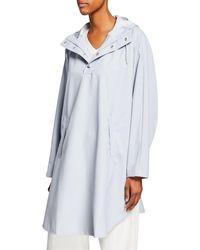 Rains Boxy Hooded Poncho Jacket - Gray
