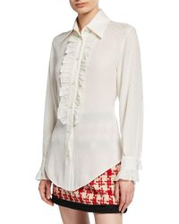 bf2950c8 Gucci - Ruffled Button-front Silk Crepe Shirt - Lyst