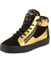 Giuseppe Zanotti - Men's Studded Suede & Metallic Leather High-top Sneaker - Lyst