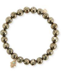 Sydney Evan - 8mm Champagne Pyrite Beaded Bracelet With Diamond & Turquoise Hamsa - Lyst