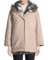Belle Fare - Detachable Fur-lined Hooded Wool Jacket - Lyst