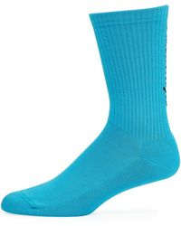 Balenciaga Men's Logo-knit Socks - Blue