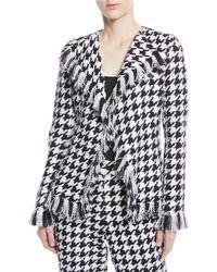 Oscar de la Renta - Tweed Houndstooth Wool-blend Jacket With Fringe - Lyst