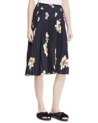 Vince - Gardenia Floral-print Pleated Seamed Midi Skirt - Lyst