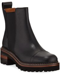 See By Chloé 30mm Leather Lug-sole Chelsea Boots - Black