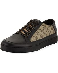 5596236cd9b8f Lyst - Gucci Common Geometric Print Low-top Trainers in Black for Men