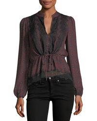 Veronica Beard   Lindberg Blouson-sleeve Printed Silk Blouse W/ Lace   Lyst