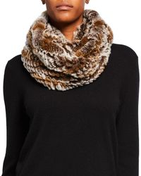 Jocelyn Knitted Snow Top Rabbit Fur Infinity Scarf - Natural