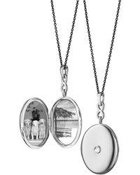 Monica Rich Kosann Silver Rose-Cut White Sapphire Locket Necklace, 30