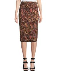 M Missoni - Metallic Animal-print Pencil Skirt - Lyst