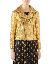 0c22babd12f Lyst - Gucci Chevron Quilted Metallic Leather Bomber Jacket in Red