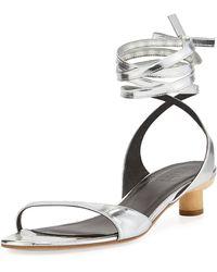 Tibi - Scott Metallic Ankle-wrap Sandal - Lyst