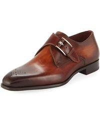 Neiman Marcus - Men's Single-monk Leather Shoes - Lyst