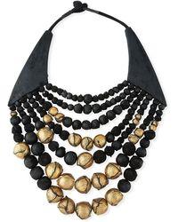 Urban Zen - Multi-strand Beaded Leather Collar Necklace - Lyst