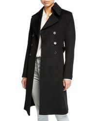 Fleurette - Double-breasted Back-belt Wool Coat - Lyst