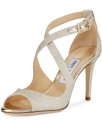Jimmy Choo - Emily Glitter Crisscross 85mm Sandals - Lyst