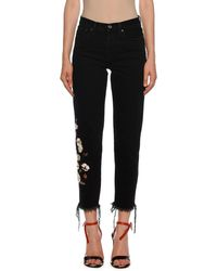 Off-White c/o Virgil Abloh Mid-rise Floral-embroidered Crop Jeans - Black
