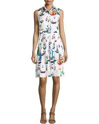 Samantha Sung | Audrey Sailboat-print Sleeveless Shirtdress | Lyst