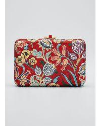 Judith Leiber Slim Slide Floral Filigree Clutch Bag - Red