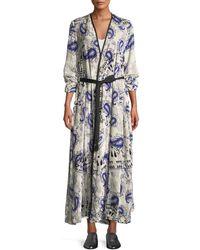 Forte Forte - Afrika-print Velvet Belted Robe Duster - Lyst
