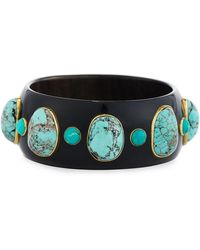 Ashley Pittman - Michezo Turquoise-studded Dark Horn Bangle - Lyst