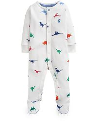Joules Ziggy Dino-print Footie Pajamas - White