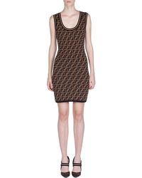 Fendi - Logo Intarsia Knit Dress - Lyst