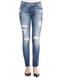 7 For All Mankind - The Ankle Skinny-fit Destroyed Jeans - Lyst