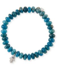 Sydney Evan 14k Apatite Bead & Hamsa Bracelet - Blue
