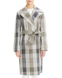 Theory - Plaid Military Stretch Silk Trench Coat - Lyst