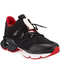 Christian Louboutin Men's Spiked-trim Tricolor Active Sneakers - Black