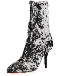 Aquazzura - Sequin Embellished Ankle Boots - Lyst