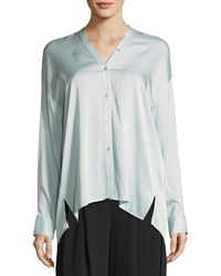 Vince - Trapunto V-neck Button-front Silk Blouse - Lyst