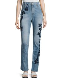 Jonathan Simkhai - Embroidered High-rise Stove Pipe Jeans - Lyst