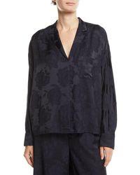 Vince Floral Jacquard Pyjama Popover Top