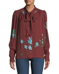 12e00365f0189 Lyst - Joie Macy D Silk Floral-print Blouse in Blue