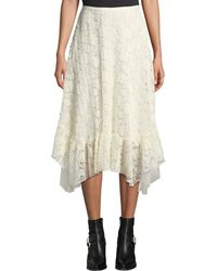 See By Chloé - Ruffled Lace Asymmetrical Midi Skirt - Lyst