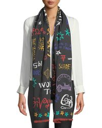 Givenchy - Tour Date Square Wool/silk Fringe Scarf - Lyst