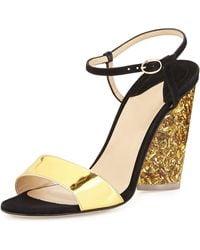 Edie Parker Parker Tie-front Glitter-heel Sandal - Metallic