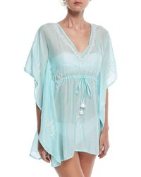 Letarte - V-neck Embroidered Lace Coverup - Lyst