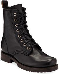 Frye - Veronica Leather Combat Booties - Lyst