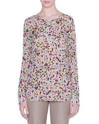 Akris Punto Pixel-print Ruffled-sleeve Blouse - Multicolour