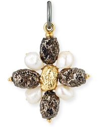 Grazia And Marica Vozza | Black Silver Cross Nugget Charm With Pearls | Lyst