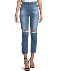 AG Jeans - Isabelle High-rise Straight-leg Crop Jeans - Lyst