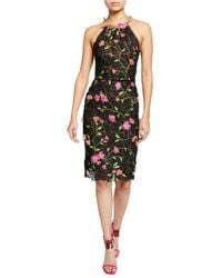 ced9cd5400fe Marchesa notte - Halter Floral-embroidered Guipure Lace Dress W/ Cutout  Back & 3d