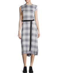 Calvin Klein - Belted Plaid Silk Midi Dress - Lyst