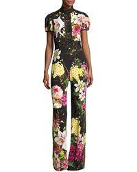 Naeem Khan - Short-sleeve Mock-neck Floral Jumpsuit - Lyst