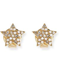EF Collection - Pavé Diamond 14k Gold Star Stud Earrings - Lyst