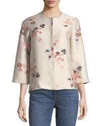 Co. - Llarless Floral-jacquard Jacket - Lyst