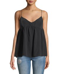 7 For All Mankind Silk Babydoll Camisole Top - Black